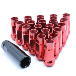 20PC-Red-Open-Ended-Steel-Wheel-Lug-Nuts-with-Adapter-M12x1-25-For-Suzuki-Subaru