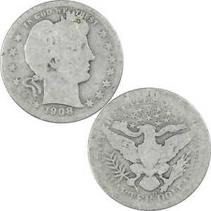 1908 D Barber Quarter 90% Silver 25c US Type Coin Collectible