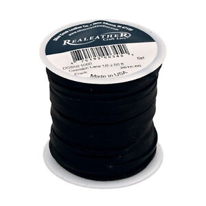 Dark Brown Realeather Crafts Suede Lace 0.125-Inch Wide 25-Yard Spool