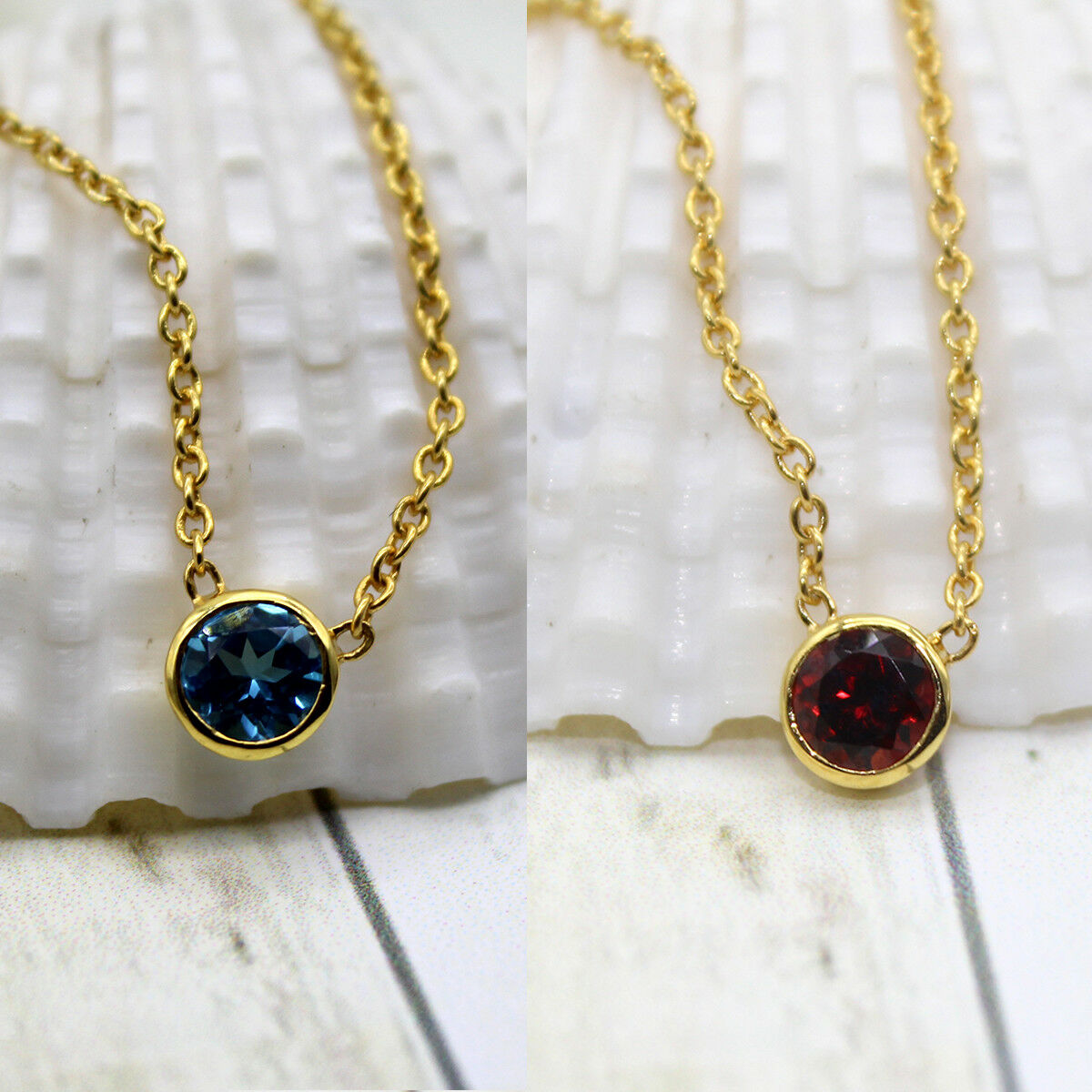 Garnet bluee Topaz Pendant 18k Yellow gold Plated Round Shape Pendant With Chain