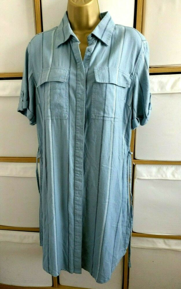Next Robe Chemise Denim Look Uk 12 Eur 40 à Manches Courtes En Lin Bleu Midi