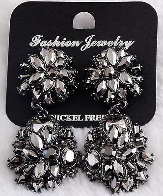 New Fashion lady dark grey multi crystal bib statement dangle studs earrings hot