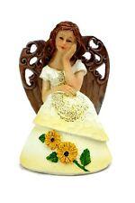 Thoughtful Angel in Yellow Sunflower Dress Resin Statue Figurine