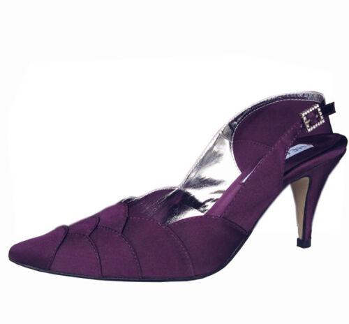 Femmes Fête De Mariage Talon Chaussure Soirée Chaussures Strass Rouge Aubergine Satin Nouveau