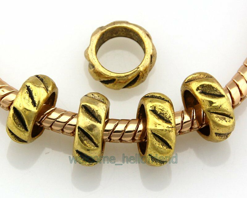 40pcs Antique Gold Tone Heart Charm Beads Fit European Bracelet J022