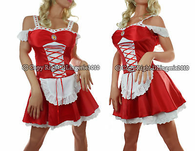 Self-Conscious Fancy Extreme Hot Red Maid Women Costume Mini Club Dress Lace Up Halloween Women's Clothing