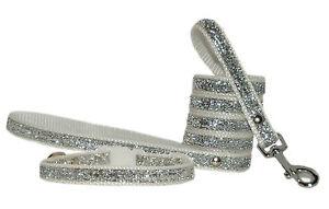 blanco-y-Plata-Sparkle-Raza-Pequena-Collar-para-cachorro-correas-2-Tamanos-1-3cm