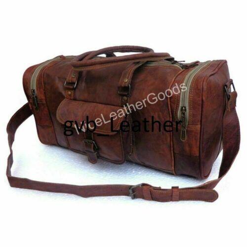 Bag Leather Duffle Travel Men Luggage Gym Vintage Genuine Weekend Overnight New