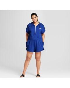 Hunter For Target Romper Hooded Short Sleeve Royal Blue Women's Plus Size 1X