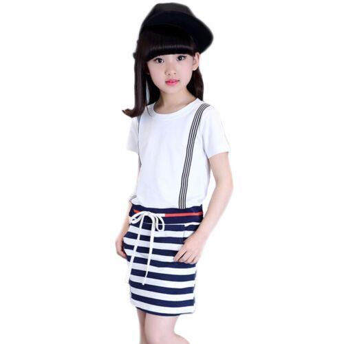 Quality Girls Black /& White Stripe Short Sleeve Cotton Dress Age 5-10 Years