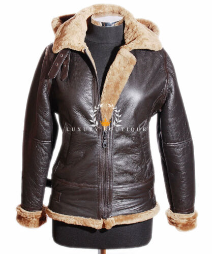 Hooded Aviator Brown Sheepskin Real B3 Jacket Ladies Ginger Leather Shearling xISqURZg