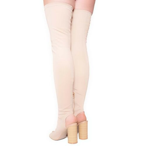 Ladies Womens High Block Heel Thigh High Stretchy Peep Toe Celeb Boots Size 3-8