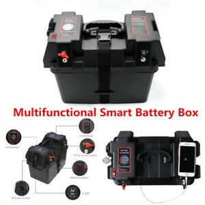 Marine-Smart-Battery-Box-with-Voltmeter-Guage-cig-USB-Sockets-Car-Boat-RV-Truck