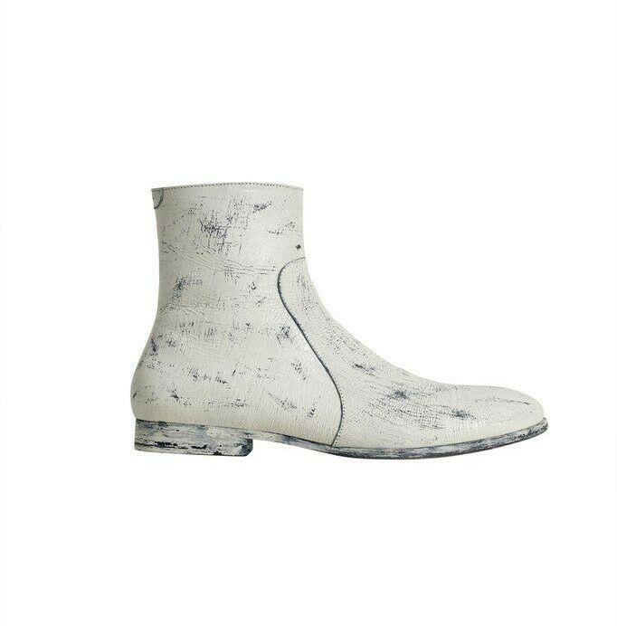 Maison Martin Margiela x H&M Leather Hand Painted Ankle Boots Loafer Black White