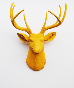The Victoria Mustard Yellow Faux Deer Head Wall Mount