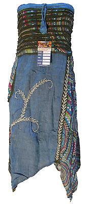 Hippie Boho Embroidery Handmade Elasticated Lightweight Cotton Summer Long Skirt