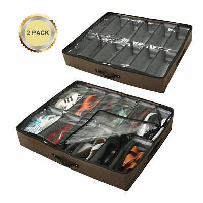 Sturdy Underbed Shoe Storage.Under Bed Shoe Storage Organizer 24 Pairs Set Of 2 Adjustable Sturdy Underbed Ebay