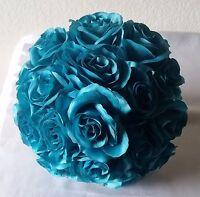 Turquoise Satin Rose Kissing Ball - Wedding Decoration