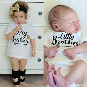 Family Matching Outfit T-shirt Brother Sister Summer Baby Romper Bodysuit Kids