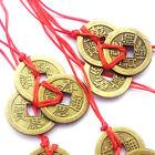 Chinesische FENG SHUI Glücksmünzen Amulett Münzkette Glücksbringer mit 3 Münzen