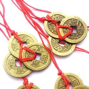 Chinesische Feng Shui Glücksmünzen Amulett Münzkette Glücksbringer