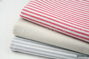 French-Ticking-Striped-Cotton-Linen-Blend-Fabric-Premium-Quality-55-034-Wide