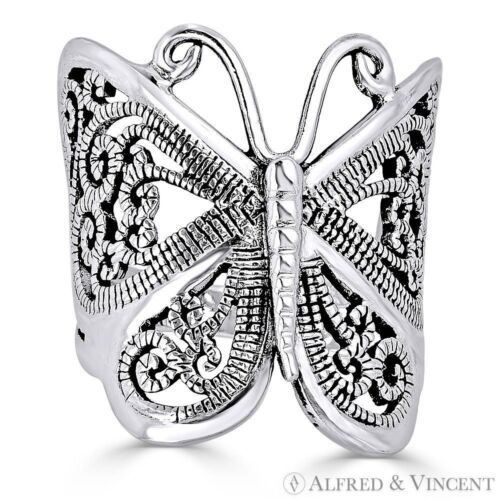 Butterfly Animal Charm Milgrain Wide Wrap Ring in Oxidized .925 Sterling Silver