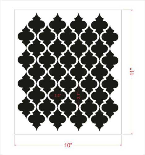 Moroccan Wall Stencil Pattern  Classic Home Decor small scale For crafting