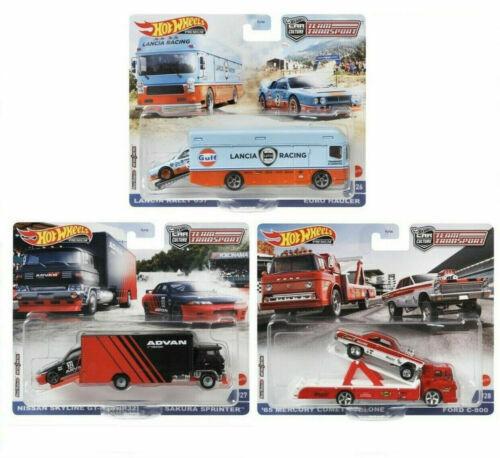Hot Wheels 2021 Car Culture Team Transport Case K Set 3 Trucks Nissan Lancia
