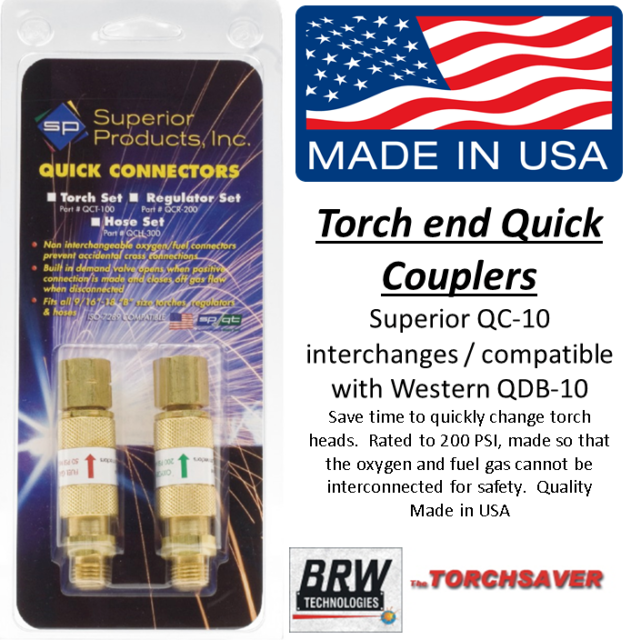 Quick Connect Disconnect Regulator to Hose Superior Set QCR-200