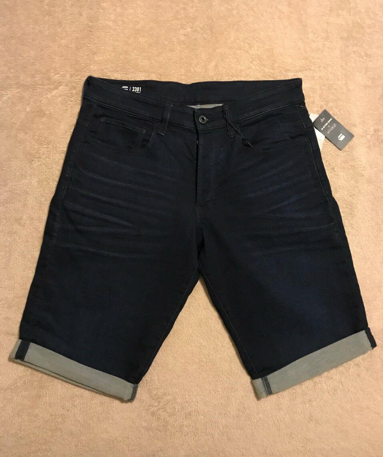 G STAR RAW Dark Indigo Aged 3301 Cella Stretchy Denim Mens 33   34 Cuffed Shorts