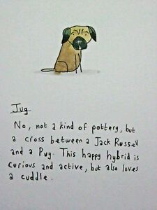 JUG-JACK-RUSSELL-PUG-DOG-Matted-Print-9x7-034-Art-Picture-Cartoon-Humour