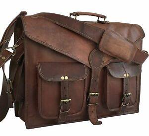 Men/'s Genuine Vintage Goat Leather Messenger Bag Shoulder Laptop Bag Briefcase