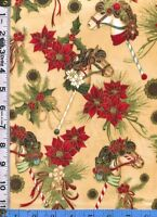 Fabric Hoffman Dashing All The Way Christmas Hobby Horses Poinsettias Cream Bthy