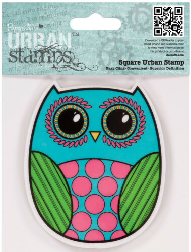 Docrafts Papermania square urban rubber stamp owl 9x9cm