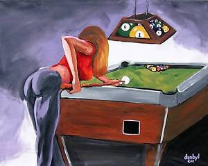 POOL TABLE Original Art PAINTING DAN BYL Fantasy Modern Contemporary - Pool table painting