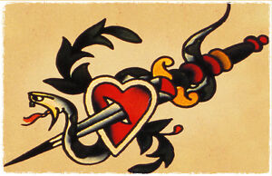 Snake Heart Dagger vintage Sailor Jerry Traditional Tattoo ...