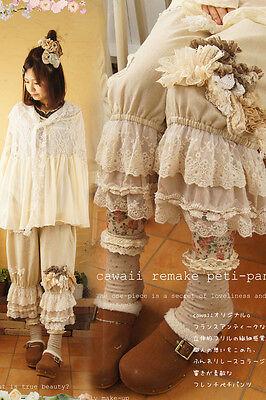 Lolita Women Embroider Lace Ruffles Pants Loose Japanese Retro Mori Girl