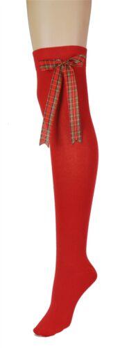 Women/'s Red Tartan Bow Over The Knee High Halloween Christmas Costume Socks Lot