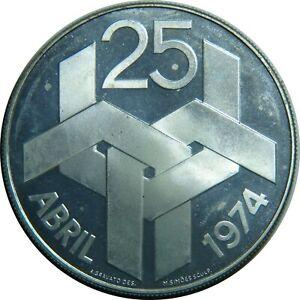 PORTUGAL-250-ESCUDOS-1974-KM-604-SILVER-REVOLUTION-1974-PROOF-LIKE-T7