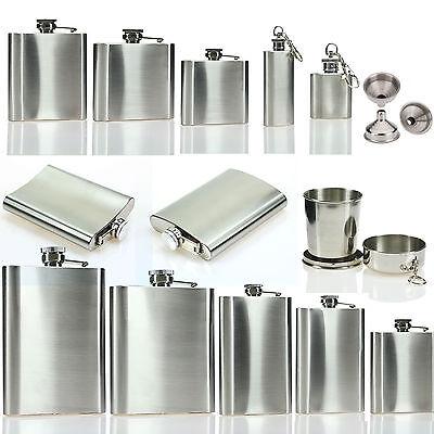 1-10oz Hip Flask Stainless Steel Pocket Drink Whisky Flasks Funnel Bar Bottle