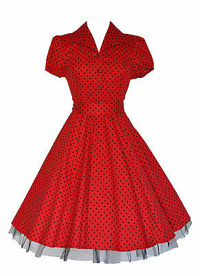 Ladies 40's 50's Vintage Style Red Polka Dot Classic Jive Shirt Dress New 8 - 26
