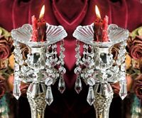 Crystal Prism Dangle Glass Bobeches Candlestick Candle Wax Drip Protector Set/2