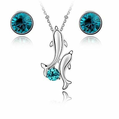 Crystals from Swarovski ® Dolphins Set Blue Necklace Earrings White Gold Plated