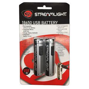 Streamlight 18650 USB Rechargeable Lithium-Ion Batteries 3.7V 2600mAh 2 Pk 22102