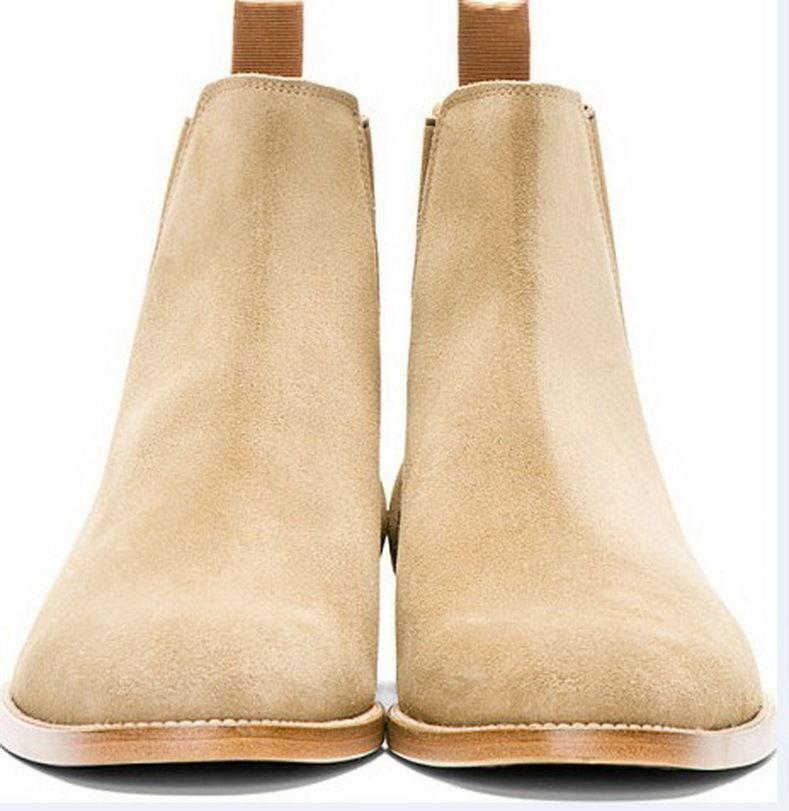 Männer Handgfertigt Beige Wildleder Leder Chelsea Stiefel Ledersohle Schuhe