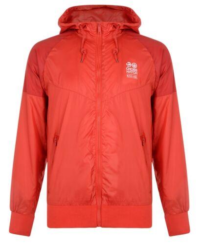 Crosshatch Men/'s Lightweight Hooded Polyester Jacket High Red /& Navy Blue