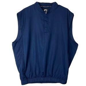 Footjoy-FJ-Homme-Bleu-Pull-Over-Snap-Bouton-Gilet-Golf-Taille-L-Large-Brode