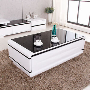 Living-Room-High-Gloss-White-Coffee-Table-Black-Tempered-Glass-Top-w-4-Drawers