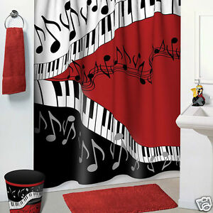 Jazzy Music Red Black White Bathroom Accessories 5